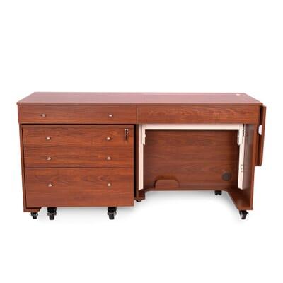 Teak Kangaroo & Joey II Sewing Cabinet (K8805) from Arrow Sewing Furniture closed down to small footprint