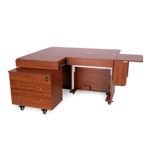 Teak Kangaroo & Joey II Sewing Cabinet (K8805) from Arrow Sewing Furniture fully opened with large worksurface
