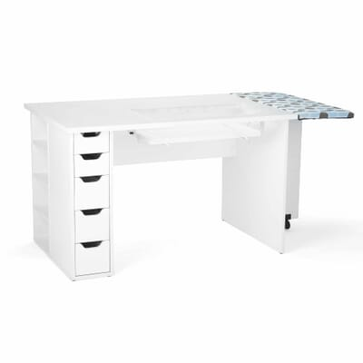 White Ginger Sewing Cabinet (62020) from Kangaroo Sewing Furniture in flat bed position without sewing machine