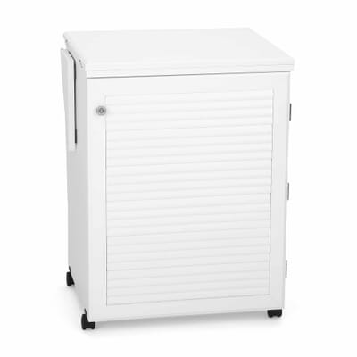 White Sewnatra Sewing Cabinet (501) from Arrow Sewing Furniture closed down to small footprint