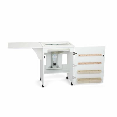 White Sewnatra Sewing Cabinet (501) from Arrow Sewing Furniture in flat bed position without sewing machine