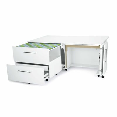White Diva Sewing Cabinet (1211) from Kangaroo Sewing Furniture fully opened with large worksurface