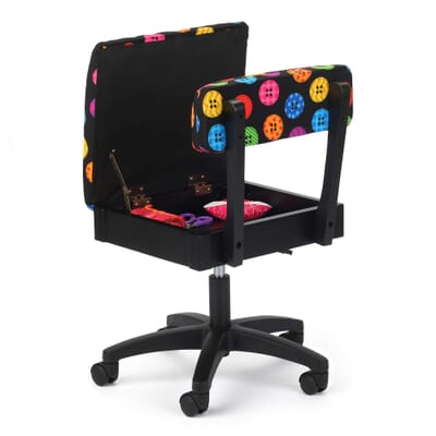 Bright Buttons Sewing Chair (H8013) from Arrow Sewing Furniture with seat open
