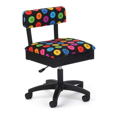 Bright Buttons Sewing Chair (H8013) from Arrow Sewing Furniture with adjustable height and swivel base