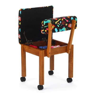 Oak Sewing Notions Wood Sewing Chair (7000B) from Arrow Sewing Furniture with seat open