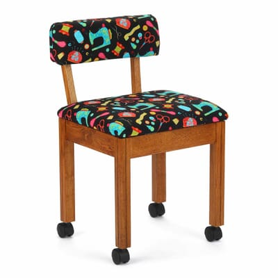 Oak Sewing Notions Wood Sewing Chair (7000B) from Arrow Sewing Furniture with adjustable height and swivel base