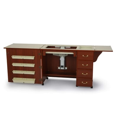 Cherry Norma Jean Sewing Cabinet (352) from Arrow Sewing Furniture fully opened with sewing lift in flat bed sewing position
