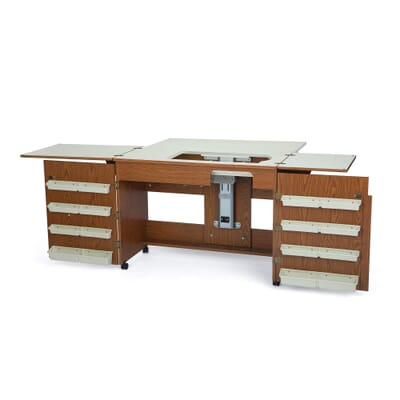 Oak Bertha Sewing Cabinet (700) from Arrow Sewing Furniture in flat bed position without sewing machine