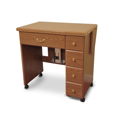 Oak Auntie Sewing Cabinet (900) from Arrow Sewing Furniture closed down to small footprint
