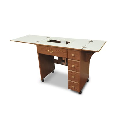 Oak Auntie Sewing Cabinet (900) from Arrow Sewing Furniture with side leaves extended