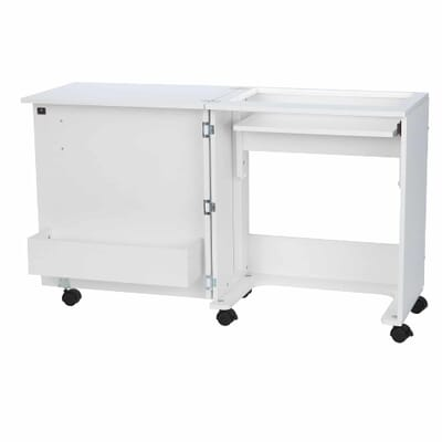 Judy Sewing Cabinet (101) from Arrow Sewing Furniture in flat bed position without sewing machine