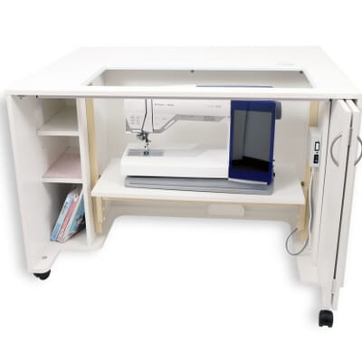 White MOD Lift Electric Sewing Cabinet (2061) from Kangaroo Sewing Furniture with sewing machine in storage position