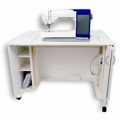 White MOD Lift Electric Sewing Cabinet (2061) from Kangaroo Sewing Furniture with sewing machine in free arm position