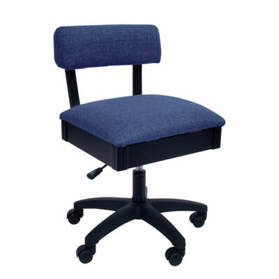 Duchess Blue Sewing Chair (H8130) from Arrow Sewing Furniture with adjustable height and swivel base