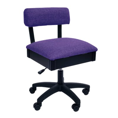 Royal Purple Sewing Chair (H8160) from Arrow Sewing Furniture with adjustable height and swivel base