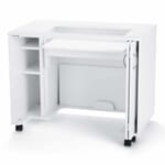 White MOD Lift Hydraulic Sewing Cabinet (2011) from Kangaroo Sewing Furniture in flat bed sewing position