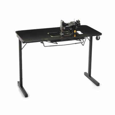 Heavyweight Sewing Table (611F) from Arrow Sewing Furniture with old-fashioned sewing machine