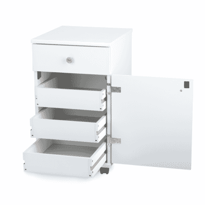 White Suzi Storage Caddy (801) from Arrow Sewing Furniture with drawers opened