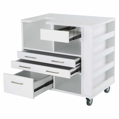 White Ava Embroidery Cabinet (9301J) from Kangaroo Sewing Furniture with drawers opened and thread pegs