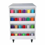 White Ava Embroidery Cabinet (9301J) from Kangaroo Sewing Furniture with colorful thread