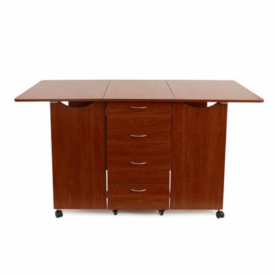 Teak Kookaburra Cutting Table (K3455) from Kangaroo Sewing Furniture opened with large cutting worksurface and storage