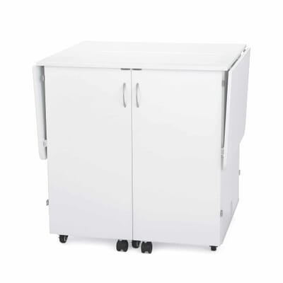 White Emu Sewing Cabinet (K9411) from Kangaroo Sewing Furniture closed down to small footprint