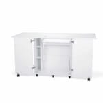 White Emu Sewing Cabinet (K9411) from Kangaroo Sewing Furniture in flat bed position and side leaves extended