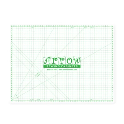 """46"""" x 34"""" Cutting Mat (MAT-C) from Arrow Sewing Furniture with 1 inch quilter's grid and degree angle markers"""