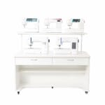 White Sewing Machine Display Cabinet (3501) from Arrow Sewing Furniture with LED light and shelf