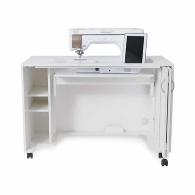 White MOD Lift Hydraulic XL Sewing Cabinet (2071) from Kangaroo Sewing Furniture in flat bed position with sewing machine