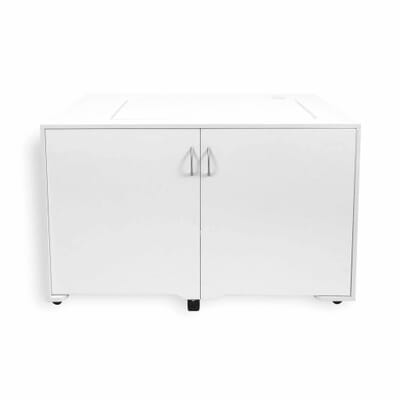 White MOD Lift Hydraulic XL Sewing Cabinet (2071) from Kangaroo Sewing Furniture closed down to small footprint