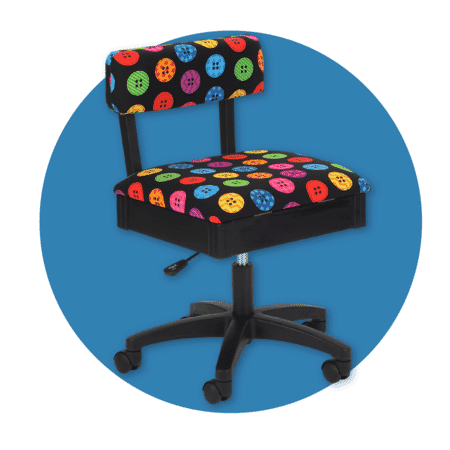 Bright Buttons height adjustable sewing chair from Arrow Sewing Furniture.