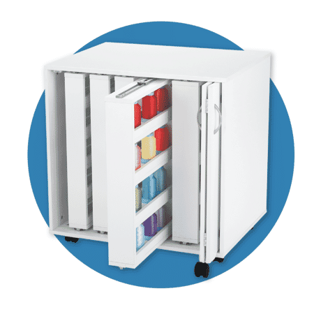 White Thread storage cabinet for sewing and quilting from Kangaroo Sewing Furniture