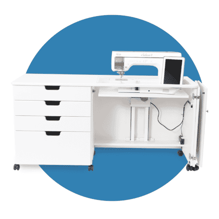 White Susan sewing cabinet from Americana Sewing Furniture with sewing machine